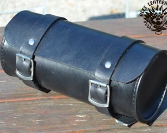 Leather Tool roll Black Tool bag Bobber Chopper Harley Biker Custom handmade