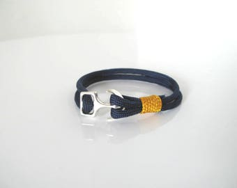 Bracelet - Navy collection Navy Paracord Midnight blue with Manila or Navy anchor clasp