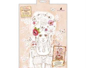 Santoro Willow Colour Me In Craft Collection - A4 Decoupage Pack (4 sheets)