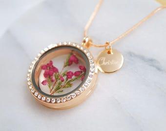 Locket necklace ~ sparkling ~ engraving ~ Rosé gold