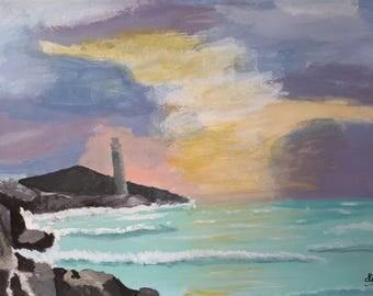 Sunset at the Lighthouse, Decoration, Art.