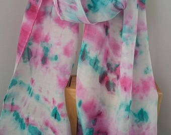 Silk and Wool, Scarf, Long Scarf, Handmade Silk Scarf,  Handmade scarves, Hand Painted scarves,