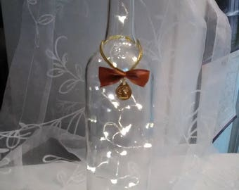 Wine Bottle With Bow & Fairy Lights