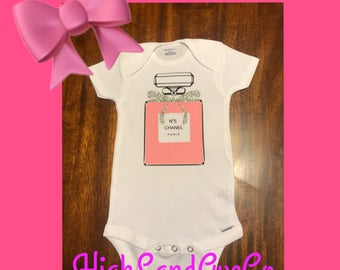 Chanel baby inspired onesie, fashion baby, chanel, baby shower gift, birthday outfit, chanel 5 parfum, custom