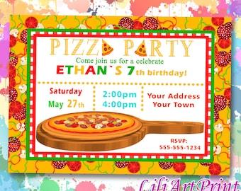 Pizza Party birthday invitation, pizza invite, pizza party birthday party, Digital file(16)