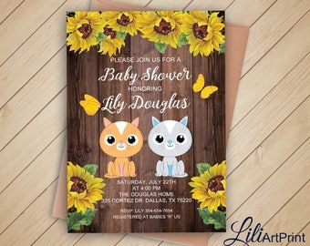 Cats Baby Shower Invitation, Printable Baby Shower, Sunflower Baby Shower  Invite, Rustic Baby
