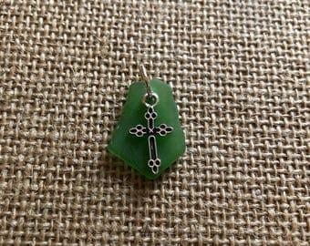 Cross on Green Sea Glass
