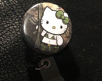Hello kitty camo name badge holder