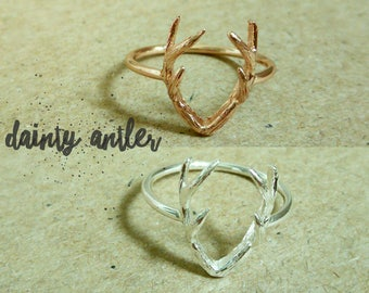Silver Deer Antler Ring, Rose Gold Deer Antler Ring, Silver Antler Ring, Rose Gold Minimalist Ring, Deer Antler Ring, Rose Gold Antler Ring