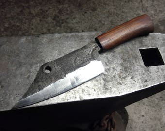 Hand forged seax-style meat cleaver.