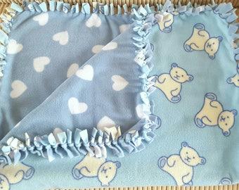 Soft blanket, Heart blanket, Teddy blanket, Pushchair accessories, Fleece blanket, Baby gift, Baby accessories, Blue blanket, Baby blanket