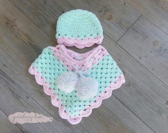 Poncho, photo prop, hand crocheted, 3 - 6 months.