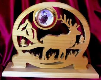 Wood Elk Eagle Desk or Table Clock