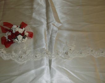 Ivory Silver/Rhinestone Beaded Small Flower Lace