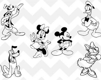 Mickey Mouse SVG,  Minnie svg, Disney SVG, Mickey Mouse Clubhouse svg, Goofy SVG, Pluto svg, Donald duck svg, Silhouette, Cricut, Bundle