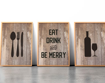 Eat Drink and Be merry Print,Rustic Wood,Fork Spoon Knife Art, Wine print,Set of 3 Prints,Kitchen Wall Art, Kitchen Print,Kitchen Wall Decor