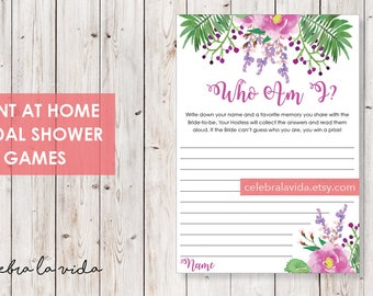 Who Am I? Bridal Shower Game. Instant Download. Printable Bridal Shower Game. Pink and Purple Flowers - 03