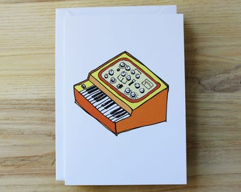 Synth // synthesizer // music // 1980s // greeting card // gift card // blank inside