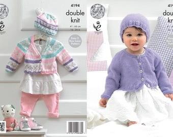Babies / Girls Cardigans and Hat Knitting Pattern - King Cole DK Knitting Pattern 4194