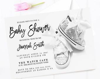 Baby shower invitation, Girl baby shower invitation, Summer baby shower, Sparkling baby shower invitation
