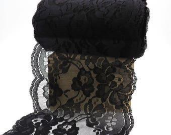 5 inch Black Lace Ribbon. Black Lace Trim. Scalloped Lace. Bridal. Wedding. Gift Wrap. Sash. Hat Making. Floral Arranging