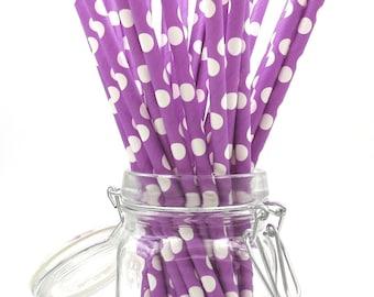 Purple Paper Straws. Polka Dot Straws. Party Supplies. Drinkware.