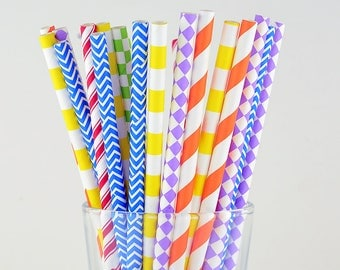 Rainbow Mix Paper Straws, Holiday Straws, Party Decor, Cake Pop Sticks, Party Supplies, Mason Jar Straws