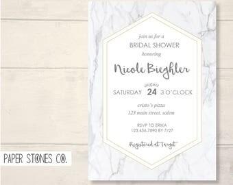 Marble Stone Invitation, Announcement, Digital, Printable