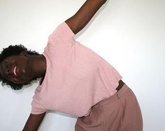 Vintage Pink Ribbed T-Shirt