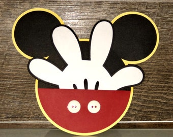 Customized Mickey Mouse head and hand invitations