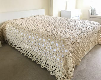 Pure Wool Crochet Queen Bedspread