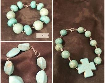 Turquoise beaded bracelet choice of three styles