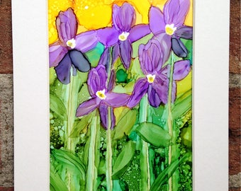 Violets - Alcohol Ink on Yupo Paper 6.75x8.75in Colorful and Brilliant Flower Painting In White Mat