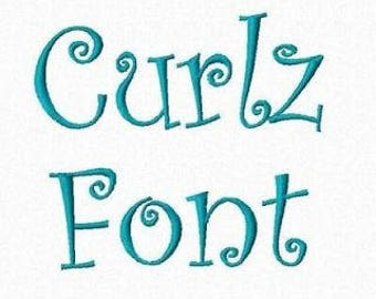 Curlz Embroidery Font PES BX SEW File Instant Download 3 sizes