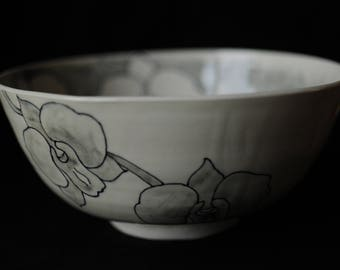 """9"""" hand thrown porcelain bowl, hand painted with orchid motifs"""