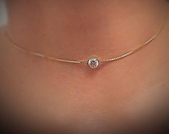 Choker necklace /Diamond solitaire necklace 14k yellow