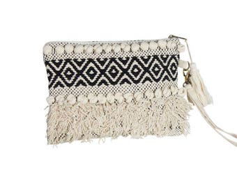 Black and White Macrame Boho Clutch