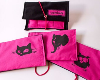 Tobacco pouch pink black, screen printing. Motifs