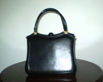 Vintage black leather bag; 50s black handbag