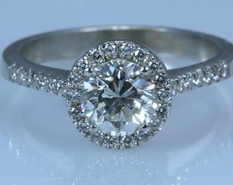 1.50 CT Round Cut D/SI1 Diamond  Engagement Ring 14K WHITE GOLD