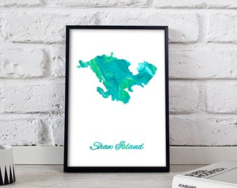 Shaw Island poster Shaw Island art Shaw Island Map poster Shaw Island print wall art Shaw Island wall decor Gift poster