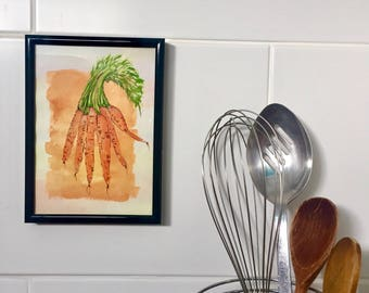 Carrot Painting Watercolour And Ink, Orange And Green Small Vegetable Art