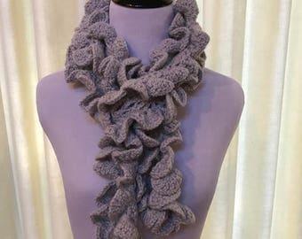 Crochet Ruffle Scarf in Gray