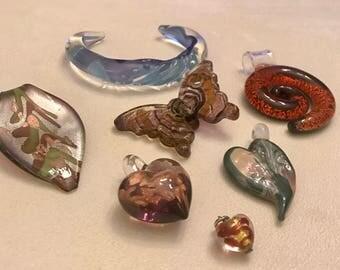 Vintage to Now Handblown Glass Lot Pendant Lot One Bracelet and Six Pendants