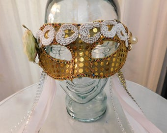 Gold Sequin Flower Mask