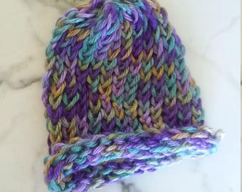 Infant Girl or Boy Turquoise Purple Beanie