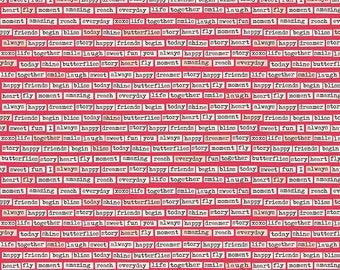 Riley Blake Vintage Words Red Fabric C5562-RED
