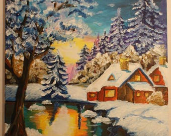 Acrylic painting on canvas winter landscape with with a snow covered cabin