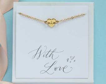 personalised dainty heart bracelet, gold heart bracelet, silver heart bracelet, heart initial bracelet, heart jewellery, gift for women