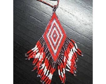 long necklace beads woven